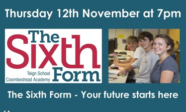 Sixth Form Virtual Open Evening - Thursday 12th November at 7pm