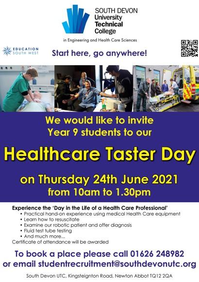 Utc healthcare taster day poster 24th june 2021
